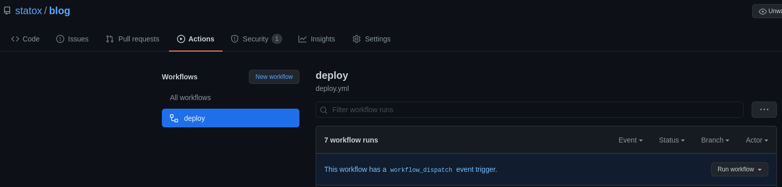 deploy workflow